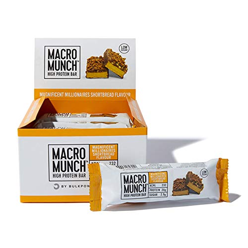 BULK POWDERS Macro Munch Protein Bar, Magnificent Millionaires Shortbread, 62 g, Pack of 12