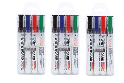 Camlin Kokuyo PB White Board Marker - 4 PIECE Assorted Colors (Black, Blue, Red, Green) (PACK OF 3)