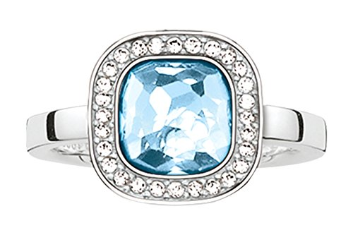 Thomas Sabo Women-Ring Glam & Soul 925 Sterling Silver Zirconia white blue Sz. 56 (17.8) TR2029-059-1-56