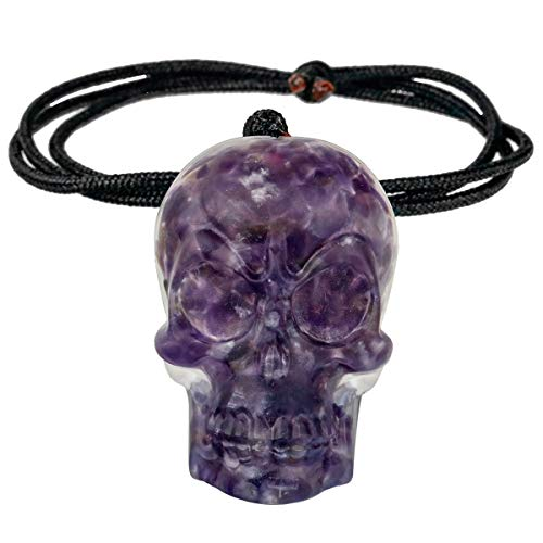 SUNYIK Healing Orgonite Skull Crystal Stone Pendant Necklace for Men and Women, Hand Carved Skull Chips Stone Necklace for Unisex Adjustable 18-24', Amethyst
