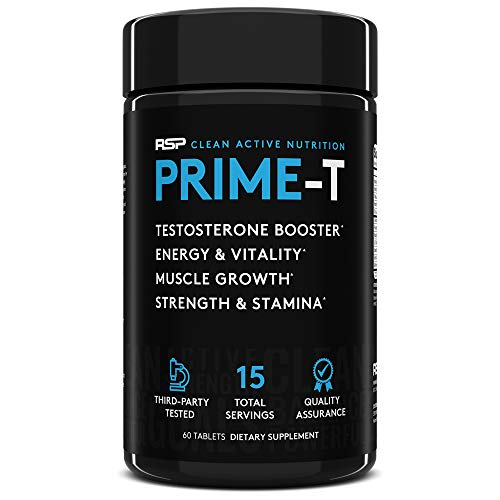 RSP Testosterone Booster for Men, Prime T Natural Test Booster Pills, Increase Free Testosterone, Lean Muscle Growth, Strength, Stamina & Healthy Sleep, Scientifically Proven Ingredients, 15 Servings