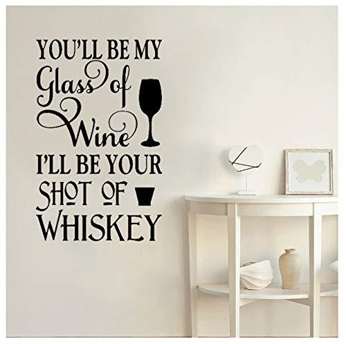 huayao Bar Wandtattoo Sie Werden Mein Glas Wein Sein Ich Werde Ihr Schuss Whisky Zitate Vinyl Aufkleber Romantische Weinkühler Wandbild 57X37Cm Sein