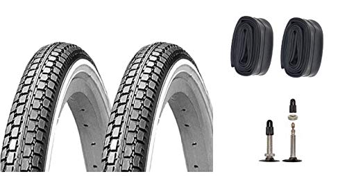P4B   2 neumáticos de bicicleta de 26 pulgadas (47-559) en negro/blanco con cámaras de aire SV   26 x 1,75 pulgadas.