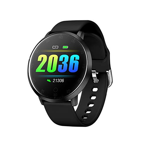 Redlemon Smartwatch Reloj Inteligente Deportivo con Monitor de Ritmo Cardiaco, Podómetro, Notificaciones de Mensajería y Redes, Pantalla Táctil, contra Agua, Compatible con iOS y Android, Modelo. W20