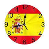 GoodLucke Bandera de España Reloj de Pared Redondo Silencioso Sin tictac Fácil de Leer para Office Home Reloj Decorativo Arte