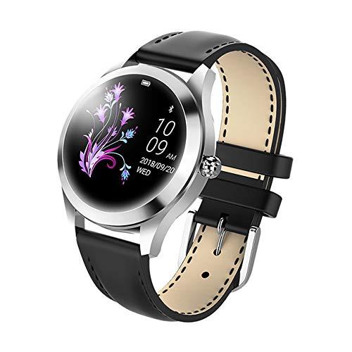 UIEMMY Reloj Inteligente a Prueba de Agua IP68 para Mujer, Pulsera Encantadora, Monitor de Ritmo cardíaco, monitorización del sueño, Reloj Inteligente Connect iOS, Android, Plateado y Negro