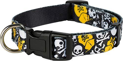Puccybell Nylon Hundehalsband mit Totenkopf Piraten Design, klassisches Halsband für kleine, mittelgroße und große Hunde HB012 (L, Schwarz)