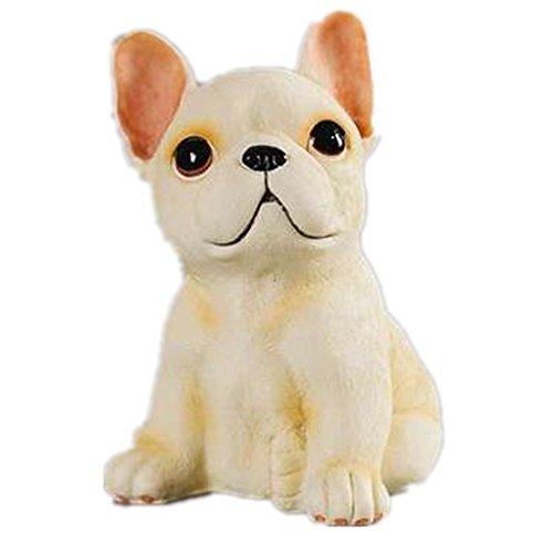Simulation des chiens assis résine chien Décoration des bulldozers chien voiture ornements, crème, 100 * 110 * 150 mm