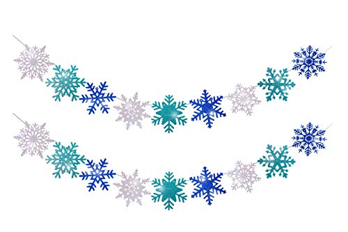 Large Size Snowflake Banner Garland Frozen Party Decorations for Christmas Holiday Winter Wonderland Santa Festive Theme Snow Snowflake Girls Birthday 2 Pack Glittery Snowflake Banner Supplies