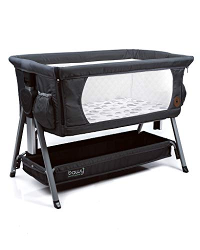 Bawy Baby Bassinet  Premium 3 in 1 Dark Grey Bassinet for Baby 2 Side Pockets Foldable Baby Bedside Sleeper Portable Crib for Newborn Storage Basket Incline Mode and Travel Bag