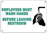 従業員はトイレを出る前に手を洗う必要がありますブリキの看板壁の装飾金属のポスターレトロなプラーク警告看板オフィスカフェクラブバーの工芸品