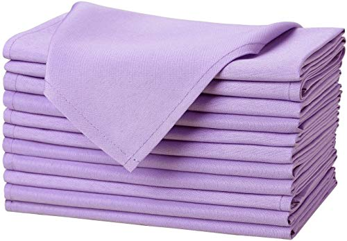 Kadut Cloth Napkins - 17 x 17 Inch Lavender Solid Washable Polyester Dinner Napkins - Set of 12 Napkins with Hemmed Edges - Great for Weddings, Parties, Holiday Dinner & More