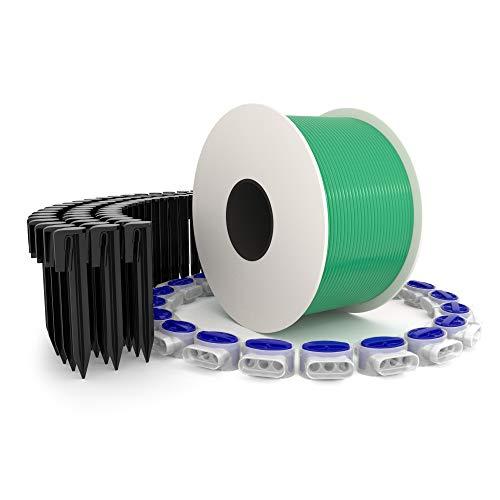 kanoo Installationsset für Mähroboter mit 150m Begrenzungskabel + 300x Erdnägel + 20x Kabelverbinder – praktisches Komplett-Set fürs Verlegen von Begrenzungsdraht aller gängigen Marken