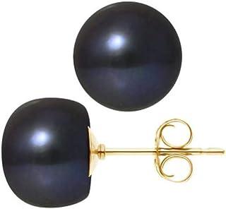 Boucles d'Oreilles Femme Perles de Culture d'eau douce Noires 10-11 mm et or jaune 750/1000