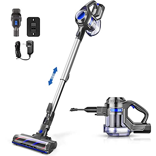 Cordless Vacuum Cleaner, Powerful Suction Stick Handheld Vacuum Lightweight with Extension Wand, Detachable Battery, 1.3L Large Capacity Dustbin for Hard Floor, Pet Hair Cleaning