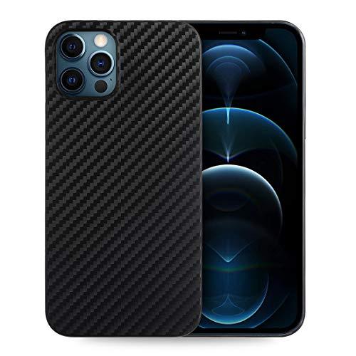 doupi UltraSlim Hülle kompatibel für iPhone 12 Pro Max (6,7 Zoll), Carbon Fiber Erscheinungsbild Ultra Dünn Handyhülle Cover Bumper Schutz Schale Hülle Schutzhülle, Kohlefaser Optik schwarz