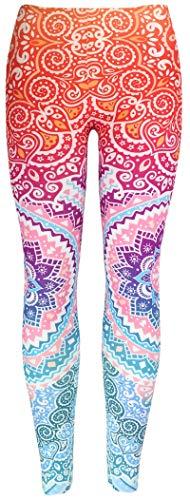 Feelinko Abgefahrene Motiv-Leggings mit All Over Print Fitness Sport Yoga Running Tights Stretch One Size rosa