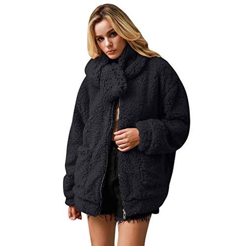 AOGOTO Chaqueta de forro polar para mujer, de manga larga, con cremallera, de piel sintética de oveja de oveja de gran tamaño, con bolsillos, cálido invierno con bufanda