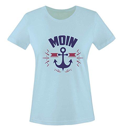 Comedy Shirts - Moin - Anker - Damen T-Shirt - Hellblau/Lila-Fuchsia Gr. L