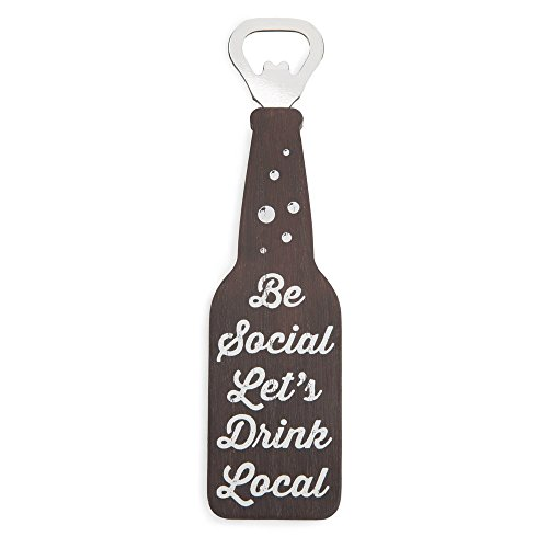 Pavilion Gift Company 68113 Be Social Let's Drink Local - Botella magnética abierta, acero inoxidable, color marrón