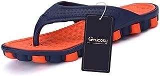 gracosy Mens Womens Flip Flops, Summer Beach Slippers Thong Sandals Lightweight Slippers Comfortable Anti-Slip T Strap Sandals