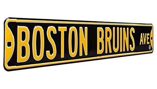 NHL Boston Bruins Ave Metal Wall Decor Large Heavy Duty Steel Street Sign – Hockey Wall Decor for Dorm Room Decorations Man Cave Decor Office and Gifts