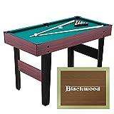 Blackwood Mini mesa de billar Junior de 4 pulgadas, para niños, mesa de billar con accesorios, incluye juego de tacos, bolas, triángulo y tiza, mesa mini de billar, 121,5 x 60,9 x 76,7 cm