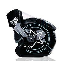 大人のオートバイフリップヘルメットオープンフェイスヘルメットフルフェイスヘルメットスクーター衝突防止ヘルメット男性と女性のダブルレンズDOTECE認定 B,L=57~59cm