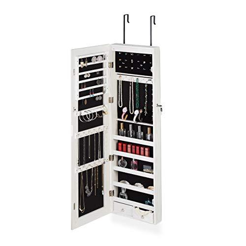 Relaxdays Schmuckschrank Spiegel, LED Licht, abschließbar, Tür-o. Wandmontage, XXL hängend, HBT 120 x 37 x 9,5 cm, weiß, 1 Stück