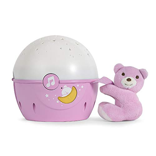 Chicco Next2Stars Baby Night Light with Plush Toy - Star Light Projector for Cots and Cribs, with Sound Sensor, 3 Light Effects and Music - 0+ Months, Pink