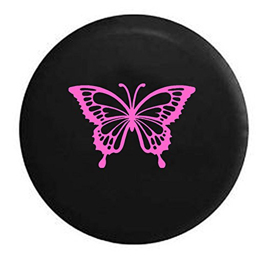 American Educational Products Pink Butterfly Girls Monarch Endangered Jeep Spare Tire Cover Vinyl Black 31 in