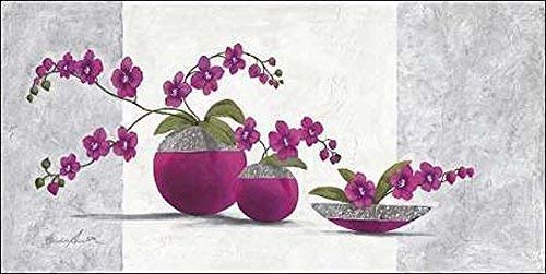 Rahmen-Kunst Keilrahmen-Bild - Claudia Ancilotti: Scarlett Leinwandbild Stillleben modern floral lila (40x80)