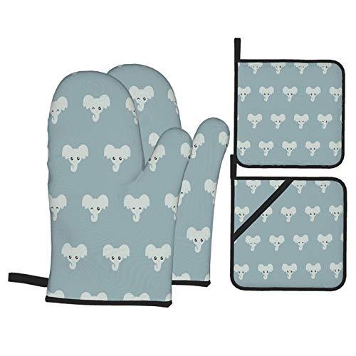 VBTDEGAB Cute Elephant Pattern Ofenhandschuhe und Topflappen-Sets 4-teiliges Set, Ofenhandschuhe, vielseitiges...