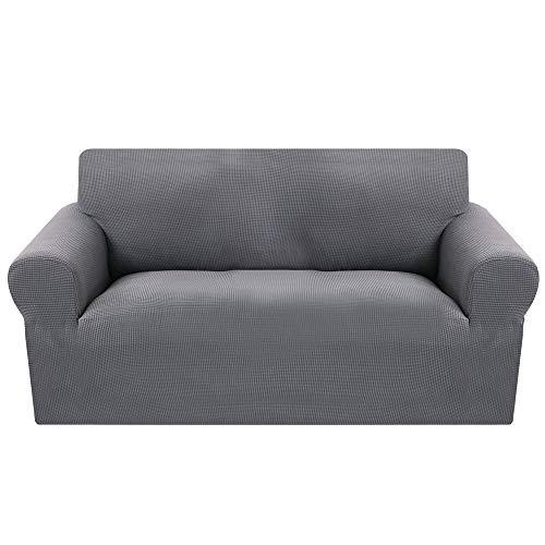 Fundas Sofás de la Tela Jacquard 2 Plazas,Cubre Sofa Universal Protector del sofá Se Adapta a Toda la Tela Cubierta Cubierta de Muebles Elegante y Duradera para Sofá Decorativa (Gris 145-180cm)