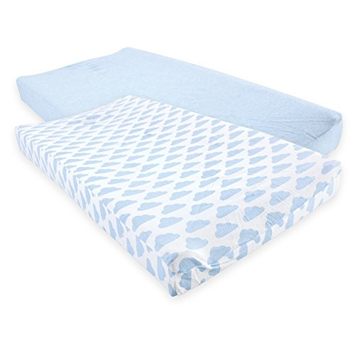 Hudson Baby Unisex Baby Cotton Changing Pad Cover, Heather Light Blue Cloud, One Size