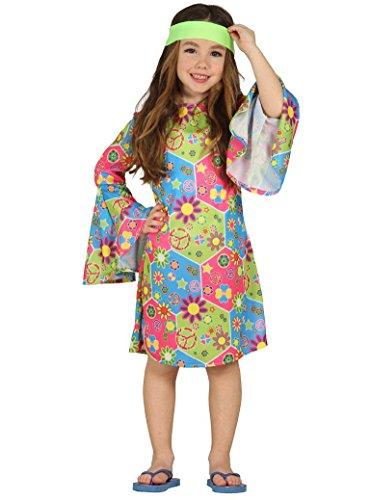 Guirca - Disfraz de Hippie para niña, multicolor, 3-4 años (95-105 cm), 85606