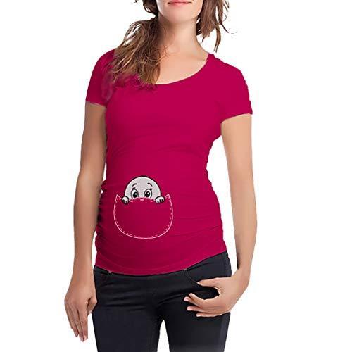 Lenfesh Schwangerschaft Shirt Frauen Umstands Tshirt Damen Umstandstop Umstandsmode Stilltop Schwangerschaft Lustige Witzig Spähen Baby Gedruckt Shirt Casual Damen Oberteile Schwanger Tops