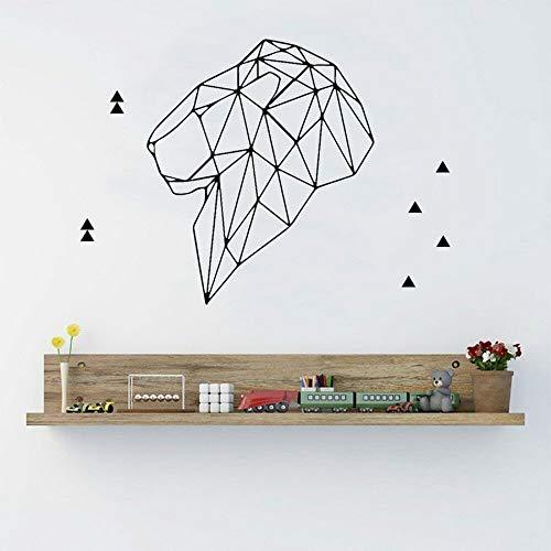 Lindo león wallpaper decoración del hogar habitación de bebé dormitorio sala de estar vinilo pegatinas de pared arte geométrico calcomanías de ventana creativo