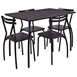 Casart 5 PCS Dining Table and Chairs Set, Wood Metal Dining Room Breakfast Furniture Rectangular Table with 4 Chairs, Black