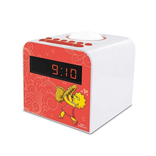 METRONIC 477444 Radio réveil veilleuse enfant Lisa Simpson - rouge et blanc Rouge