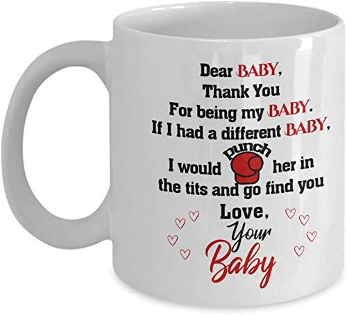 Not Applicable Querido bebé, Gracias por ser mi bebé - Taza de café Aniversario Lindo Regalos del día de San Valentín para Hombres Mujeres Esposo Esposa Novio Novia