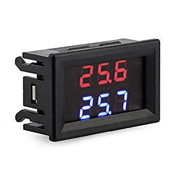 DROK Digital Thermometer DC 4-28V -50 to +125 Degree Celsius Indoor Outdoor Thermometer with Dual LED Display High Accuracy Temperature Gauge Tester with 2 Waterproof NTC Temperature Sensor Probe