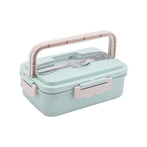 DIYOO Lunch Box Porta Pranzo Bento Box sigillato con Bacchette Cucchiaio Scuola Lunch Box Wheat Picnic Verde