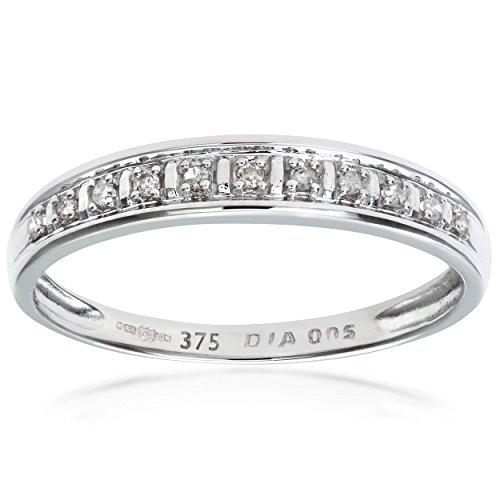 Naava Anillo de Mujer con Oro blanco de 9 quilates (375) con Diamantes Brillantes - Tamaño 10