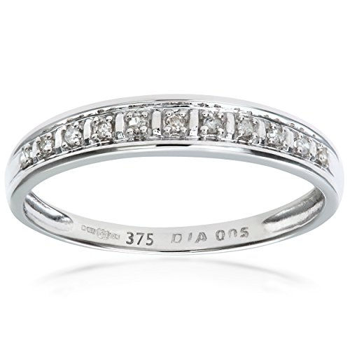 Naava Women's Diamond Pave Set 9 ct White Gold Eternity Ring - Size J