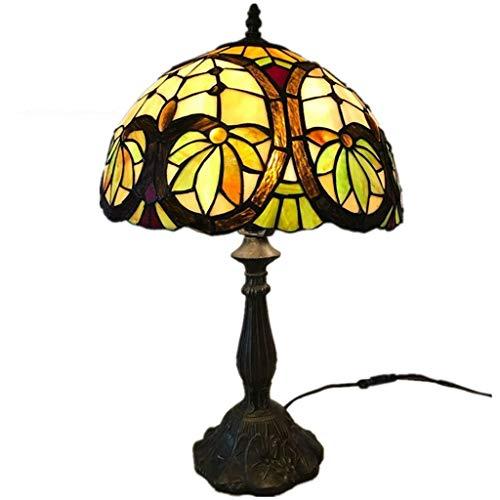 AWCVB Tiffany Style 12 Pulgadas Led Lámpara De Mesa Interruptor De Botón para Estudio Dormitorio Decoración para El Hogar Vintage Escritorio Luz Sala De Estar, Dormitorio, Oficina