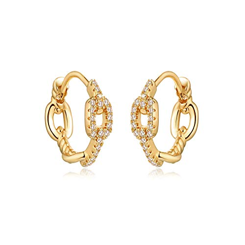 MYEARS Women Gold Huggie Earrings Half Hoop Diamond CZ Pave Curb Chain Wreath Twist Link Sleeper 14K Gold Filled Tiny Boho Beach Simple Delicate Handmade Hypoallergenic Jewelry Gift