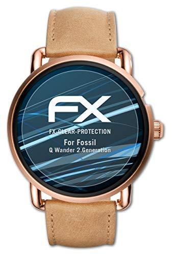 atFoliX Schutzfolie kompatibel mit Fossil Q Wander 2.Generation Folie, ultraklare FX Bildschirmschutzfolie (3X)