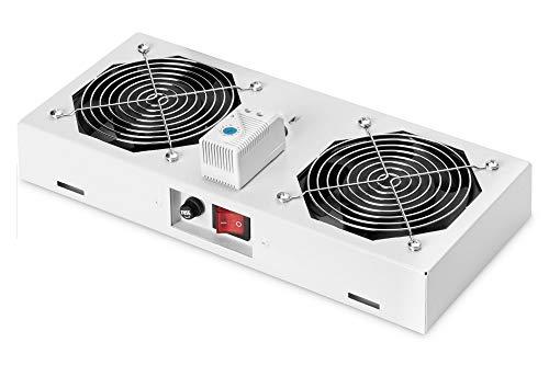 Ventilador de Techo DIGITUS para Carcasa Mural, 276 m³/h Volumen de Aire de soplado Libre, 2X Ventilador, termostato, Gris (RAL 7035)