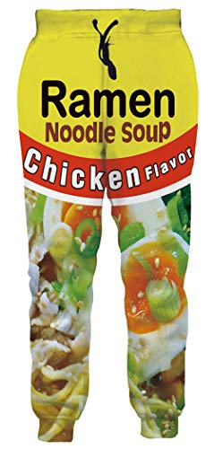 Digital Printing Drawstring Pants Ramen Chicken Noodle Soup Graphic Jooger Sweatpants Solid Yellow Red Color Sports Trousers with Big Pocket for Mens Womens Autumn Winter Daily Wear XXL